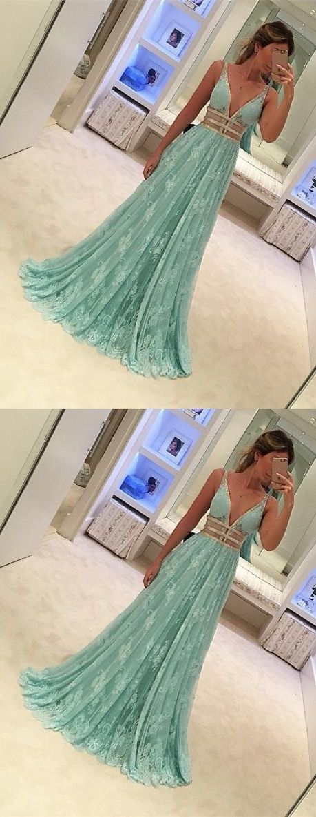 mint lace deep v-neck prom evening gowns, lace fashion dinner party gowns, chic wedding party dresses.
