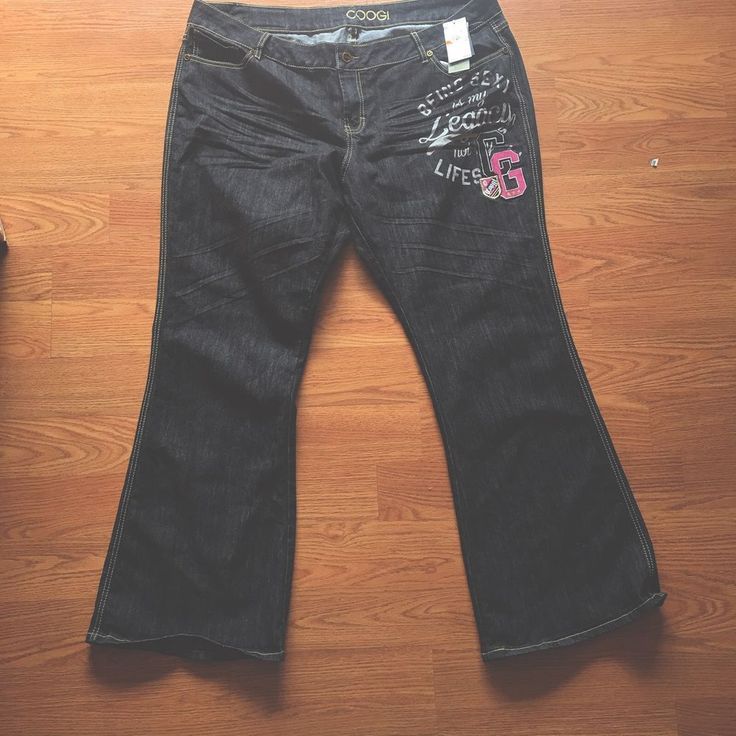 Coogi NWT Plus Size Jeans 24W Embroidered $108  Bootcut Dark Wash #COOGI #BootCut