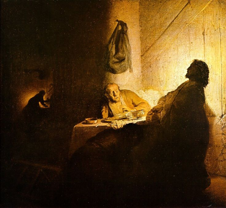 Ужин в Эммаусе (ок.1529) (37.4 x 42.3). Rembrandt Harmensz van Rijn (1606-1669)