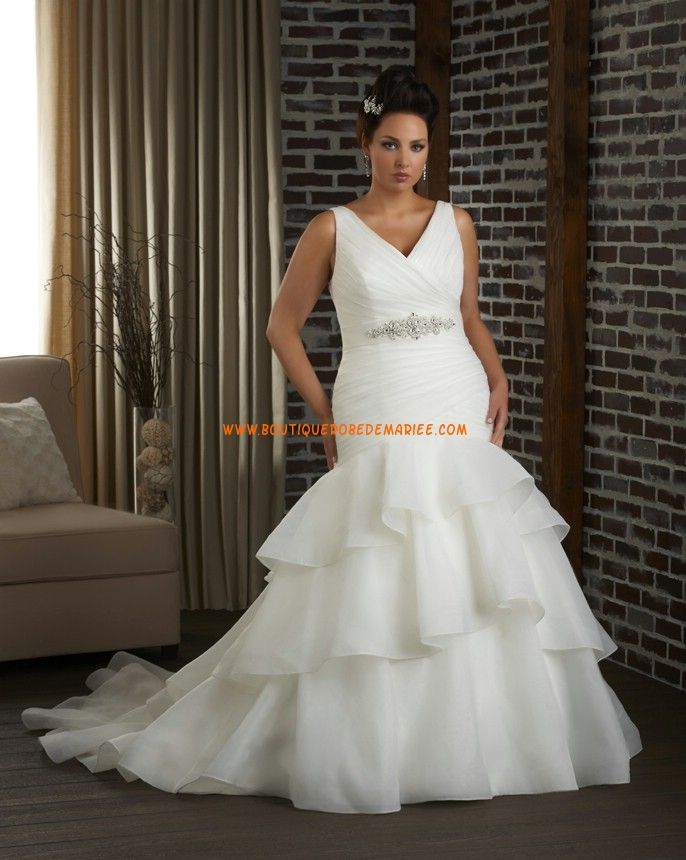 Robe de mariée grande taille sirène organza ruban perlé