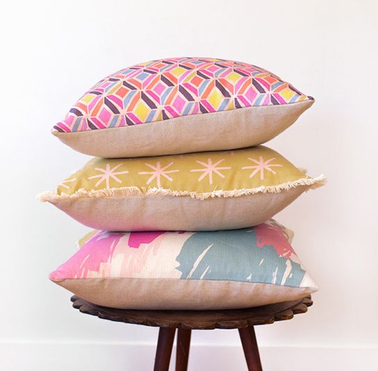 Ma and Grandy Cushions - Cut Crystal, Mustard Starry and Beautiful Mess.  http://www.maandgrandy.com/