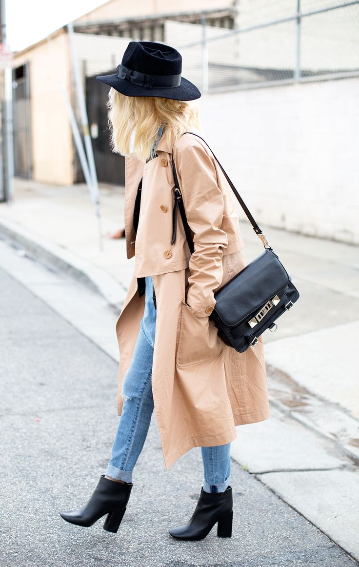 The Seal trench coat is classic cool. Courtney of blog Always Judging in the Seal trench.