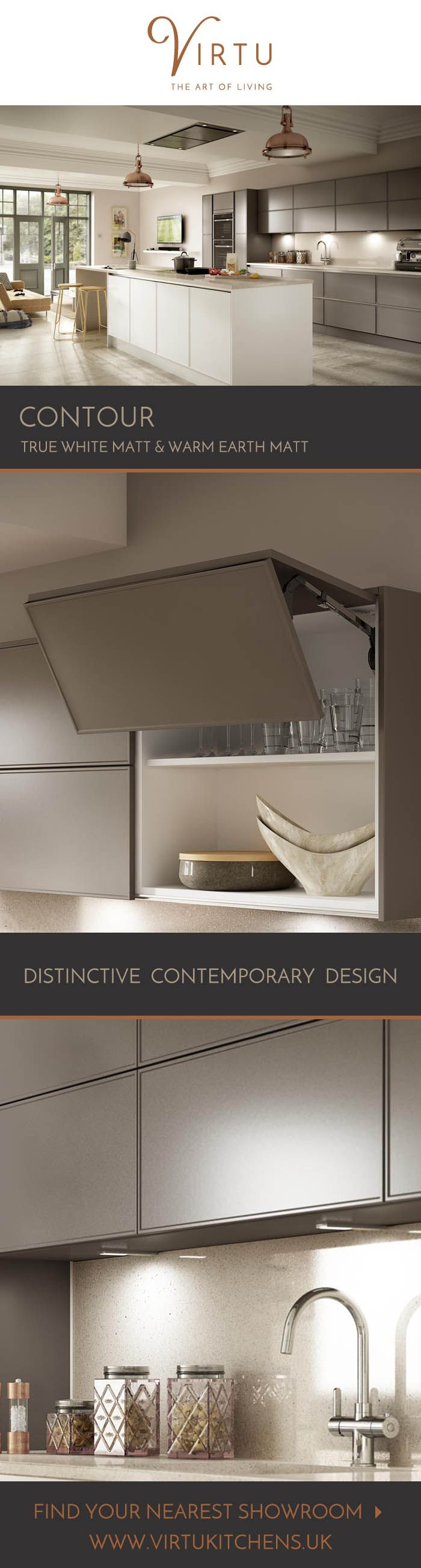 Our Contour Kitchen Has A Stylish Slab Door, With A Creative Framed Edge  Twist. Teamed With The Nouveau Handleless Cabinet With Your Choice Of Metal  Finish.