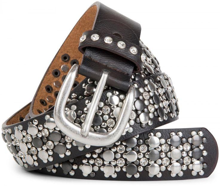 styleBREAKER edler Nietengürtel im Vintage Design mit echtem Leder, Nieten und Strass, kürzbar, Damen 03010052 Gürtel      534