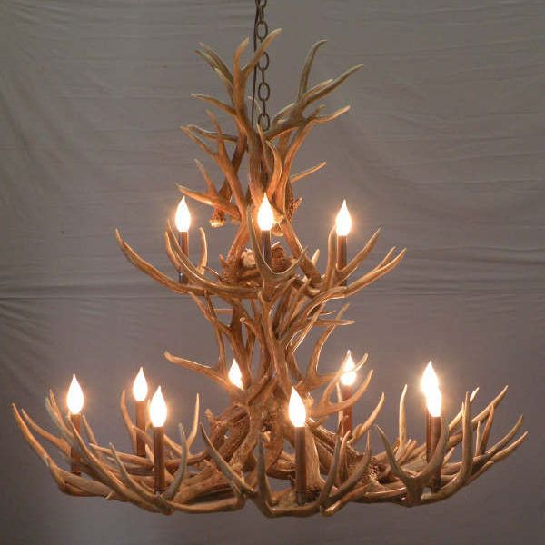 504-2-tier-aspen- mule deer antler chandelier