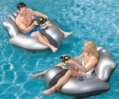 Motorized Floating Bumper Cars.. Ram into each other bumper car style just like you used to do as a kid at the local fair – only now you are crashing into each other on the high seas! These floating motorized bumper cars are perfect for fun at the pool or beach, and include a built in large water gun.