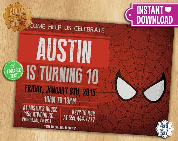 Spiderman Invitation EDITABLE TEXT Customizable Superhero