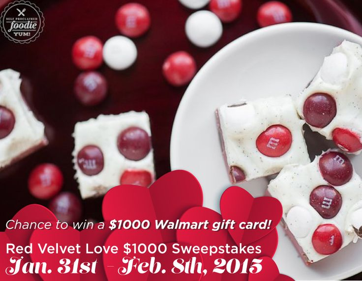 Need a new recipe to show your love to friends & family? Find sweet treats & enter for a chance to win the Red Velvet Love $1000 Sweepstakes! Prize: $1000 Walmart gift card. Rules/Enter: https://www.facebook.com/SoFabChats?sk=app_396393053713168 Ends 2/8/15 at 11:59pm ET. AD