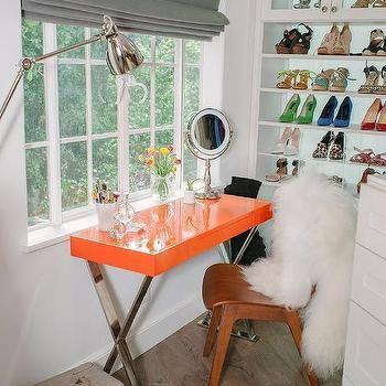 Walk In Closet with Orange X Based Make Up Vanity