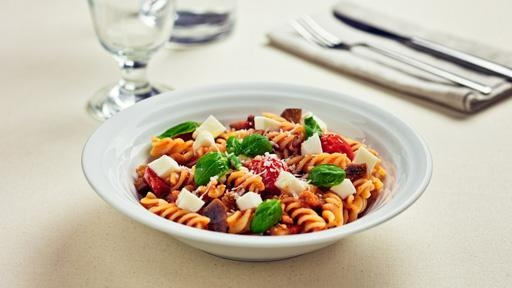Fusilli with with eggplant, basil and tomato and ricotta sauce
