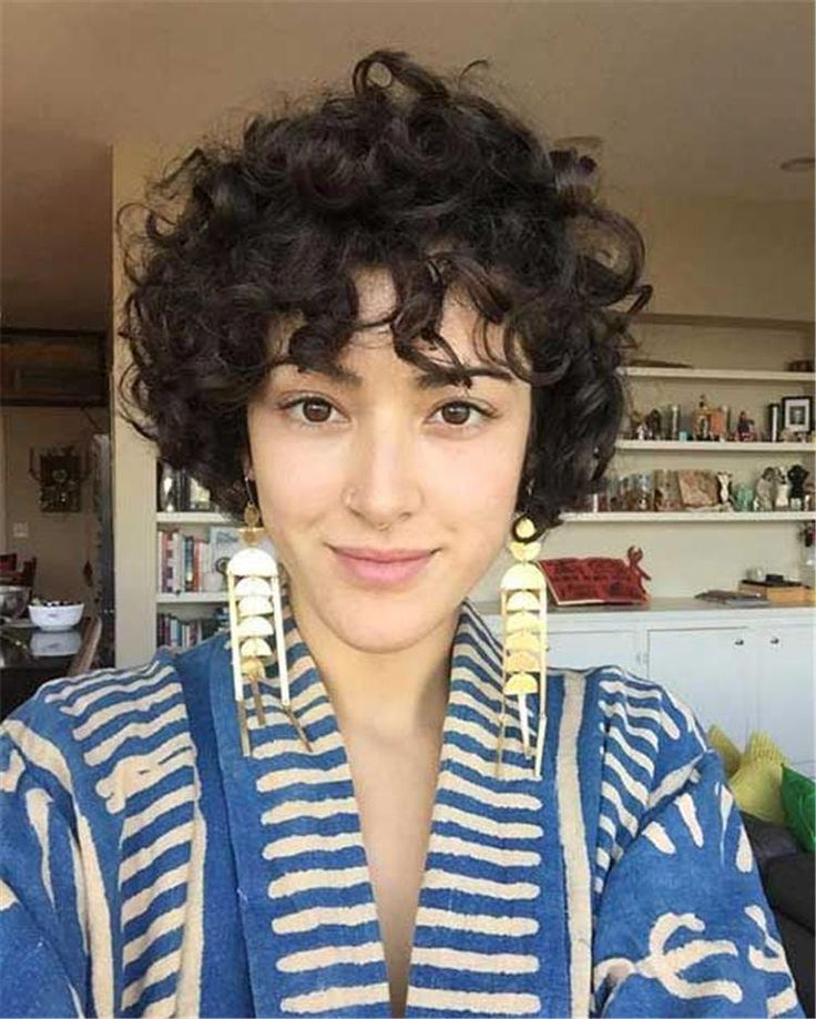 Chin Length Curly Bob; Short Curly Thick Hair; Short Curly