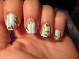 Manicura vintage con rosas y fondo menta / Vintage roses manicure, mint green bottom (Nivel difícil)