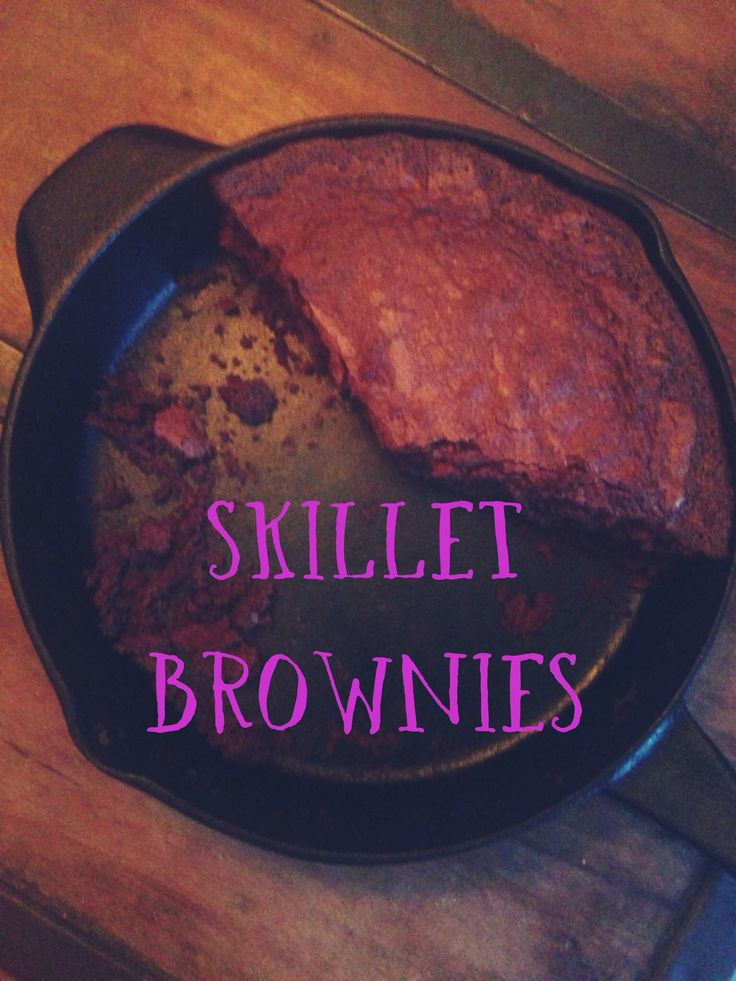 Eazy Peazy Skillet Brownies!  Recipe:    1 box brownie mix (I used Ghirardelli)   Instead of the box instructions replace ingredients with - 1/2 cup of milk, I stick of melted butter, & 2 eggs. Mix together and pour into skillet. Bake at 325 until center is firm (about 45 min to an hour).  The brownies came out moist and cake like! Serve with ice cream and chocolate syrup! You'll be hailed as a hero! #southerndaughter