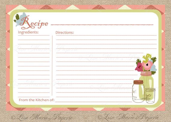 Recipe Card, Printable Recipe Card, DIY Recipe Card - INSTANT - recipe card