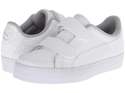 Puma Kids Court Point V (Toddler/Little Kid/Big Kid) White/White/Grey Violet - 6pm.com