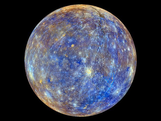 Mercury as photographed by MESSENGER  with colors to enhance the chemical, mineralogical, and physical differences between rocks.