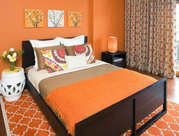 Dormitorios en color naranja y marrón - Colores en Casa
