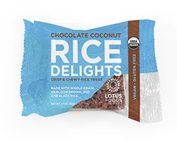 Lotus Foods   Organic Chocolate Coconut Rice Delights   Lotus Foods introduces Organic Rice Delights, a better-for-you version of beloved marshmallow rice treats.   We combine nutritious coconut with rich chocolate to make these 'delightful' crispy, vegan and gluten-free rice treats. Instead of white rice our Rice Delights are made with organic brown, red and black rice and sweetened with organic coconut nectar.   Try all three delicious and fun flavors: Chocolate Coconut, Lemon Ginger, and…