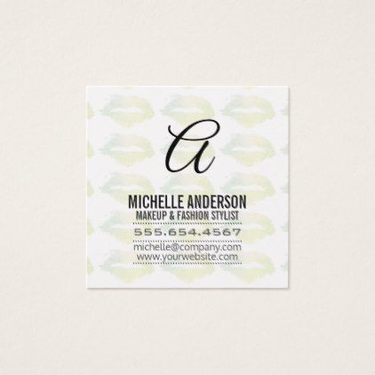 Script Monogram / Expressive Kiss Square Business Card - script gifts template templates diy customize personalize special