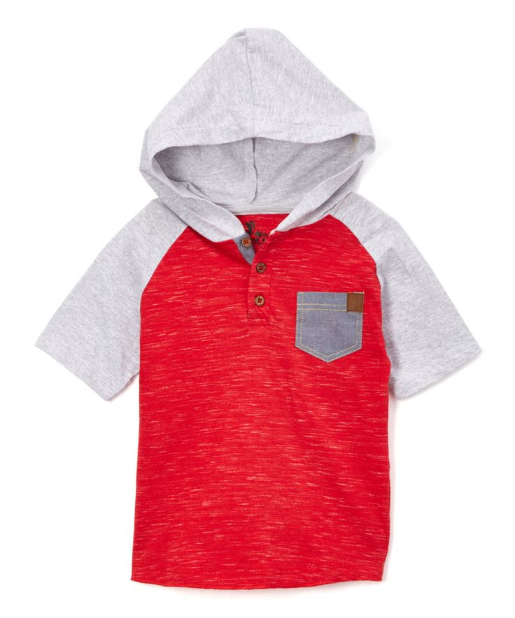 Look at this American Hawk Engine Red Contrast Raglan Hooded Henley - Toddler & Boys on #zulily today!