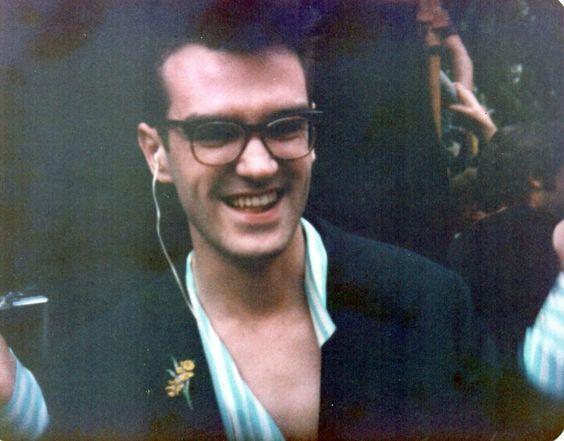 Morrissey: before The Smiths' GLC 'Jobs For A Change' Festival concert, Jubilee Gardens, London on June 10, 1984