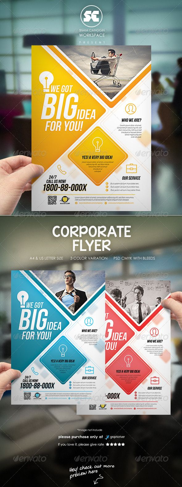Modern Corporate Flyer / Magazine Ads ... ad, advert, advertisement, agent, blue, brochure, business, buy, company, corporate, creative, identity, layout, magazine, owner, pamphlet, photoshop, poster, profit, real estate, red, square, style, template, tile, triangle, yellow