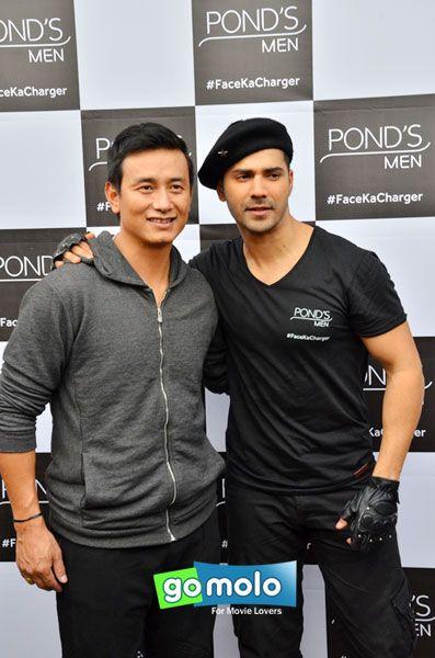 Baichung Bhutia & Varun Dhawan at the Ad shoot of Ponds Men skin care products at Film City in Mumbai