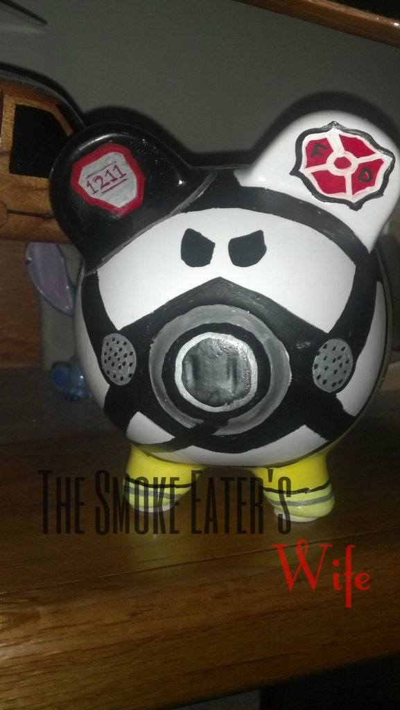 Firefighter Piggy Bank, Maltese Cross, Axe, mask, PPE, Handpainted and personalized. Cool idea for a firefighter or a firefighter's baby!
