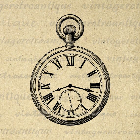 Old Fashioned Antique Pocket Watch Digital Image Download Printable Graphic Vintage Clip Art. High quality digital graphic for printing, iron on transfers, t-shirts, pillows, tote bags, and much more. Real vintage clip art. This graphic is large and high quality, size 8½ x 11 inches. Transparent background PNG version included.