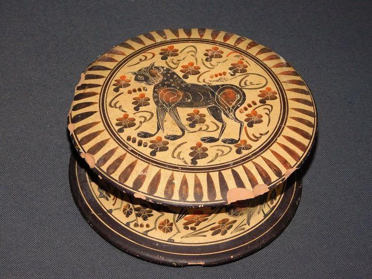 ANCIENNE BONBONNIERE COPY CORINTHIAN PERIOD 550 B-C DECORS ANIMAUX MYTHOLOGIQUES