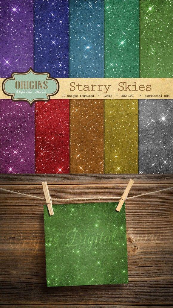 Starry Sky Digital Paper Backgrounds. Textures. $5.00