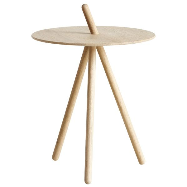 Woud's Come Here is a charming side table that was created by the Danish designer Steffen Juul. The simple design consists of a round table top and three legs, made of lacquered or soap treated ok.