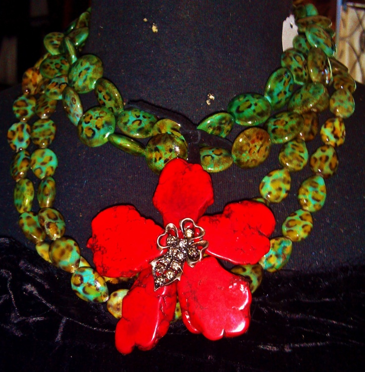 Sassy and Sexy Summer Munn Layered Necklace with Gorgeous Red Flower.: Red Flowers, Layered Necklace