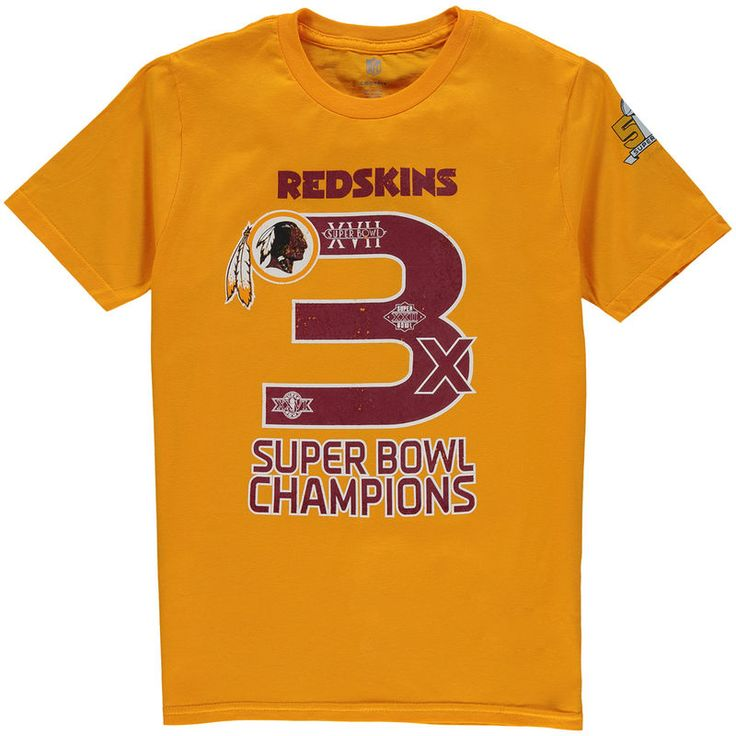 Washington Redskins Youth On the Fifty Super Bowl Wins T-Shirt - Gold