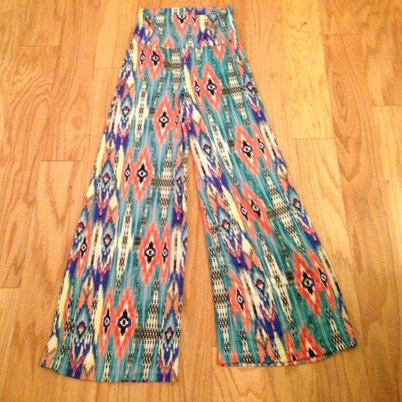 Tribal print pants Wide leg pants, very soft/comfortable, fold over waistband, multicolored tribal print 2B Together Pants