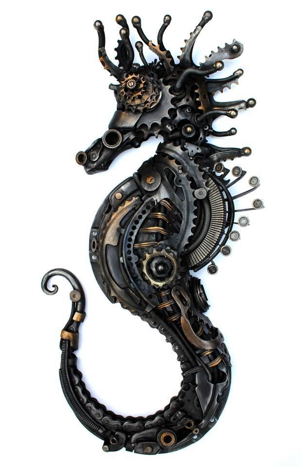 Alan Williams latest work, 70cm Steampunk SeaHorse made of Cogs, motor parts and an old typewriter!