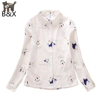 2016新しい女性ブラウス犬プリント ブラウス ロング スリーブ シャツ ターン ダウン襟トップスシャツ用レディース