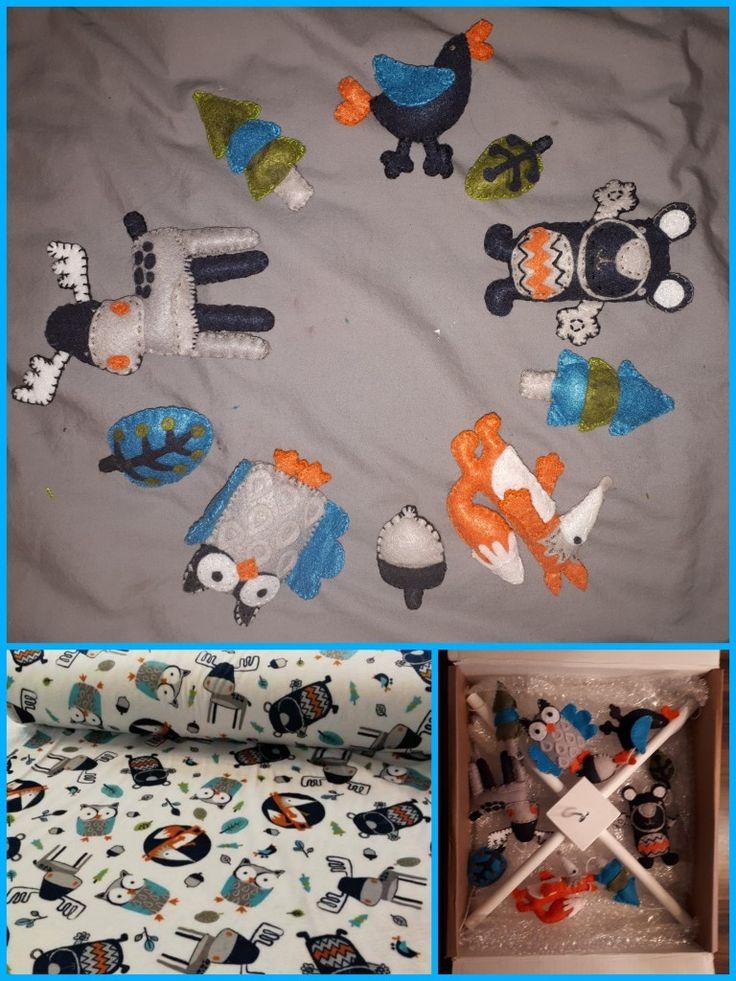 Mobile en feutrine s'agençant aux couvertures de bébé
