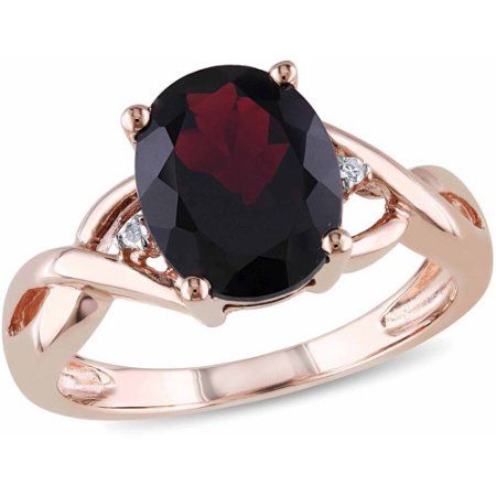 3 Carat T.G.W. Garnet and Diamond Accent 10kt Rose Gold Cocktail Ring, Women's, Size: 10