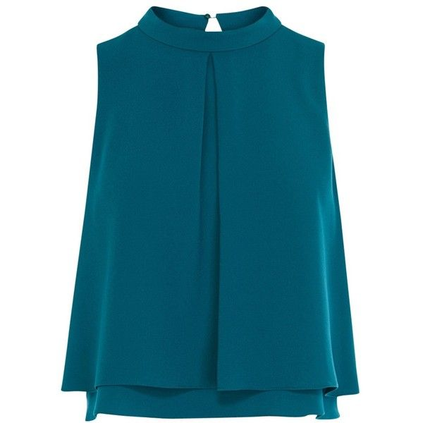 Coast Caster Top, Teal (554.670 IDR) ❤ liked on Polyvore featuring tops, teal tops, blue top, collar top, sleeveless tops and sleeveless collared top