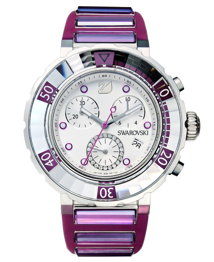Swarovski Watch, Women's Swiss Chronograph Octea Fuchsia Rubber Strap 40mm 1124157 - Fashion Jewelry - Jewelry & Watches - Macy's