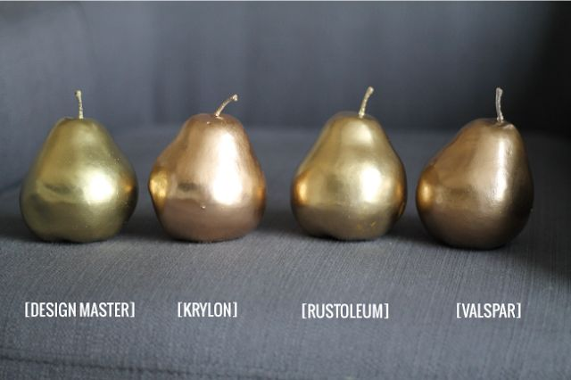 Gold Spray Paint. Which is your favorite? They all look different. Good to know. @Natalie Jost Kresge