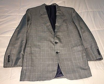 Tom James Filo A Mano Size 44R Wool Silk Plaid Checked Blazer Sport Coat Jacket