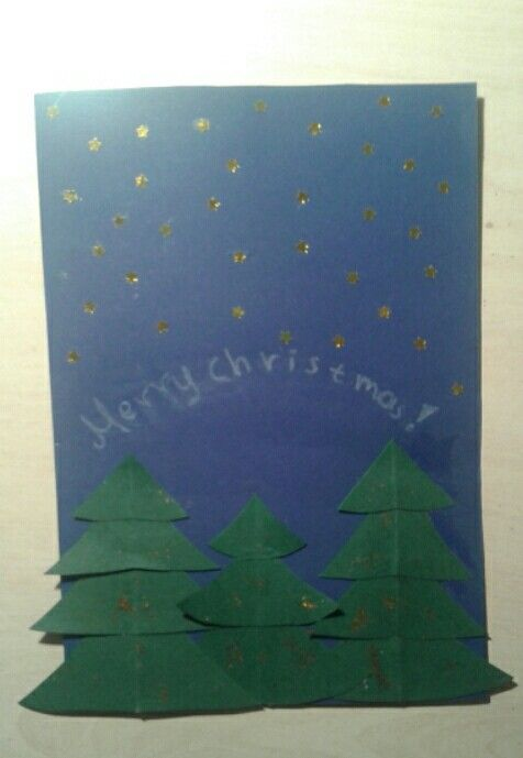 Very easy to make...you wilk need:green scrabooking paper  blue scrabooking paper some small gold stars and gold glitter!You can write your wishes with a white pencil like I did