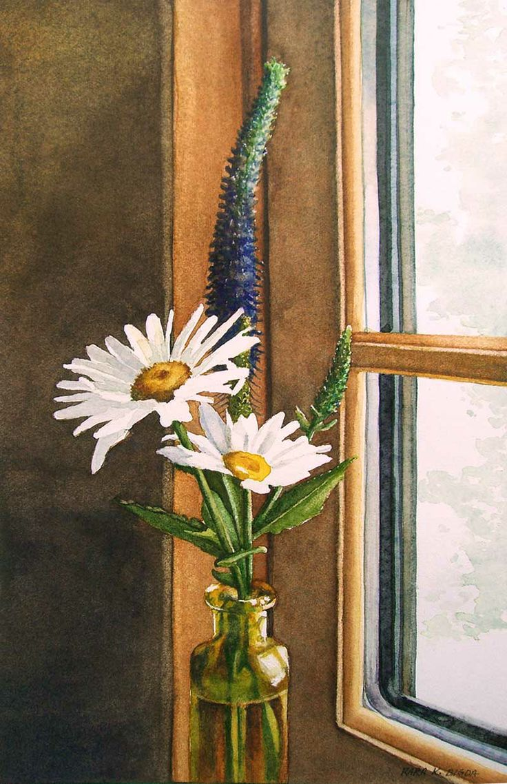Fine watercolor art for sale - Daily Paintworks Kitchen Window Daisies Original Fine Art For Sale Kara K