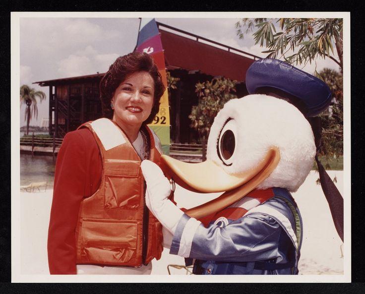 U.S. Coast Guard Auxiliary promotional photo of Elizabeth Dole (in a life-vest) with Donald Duck. Ca. 1990-1991. From the U.S. Coast Guard Auxiliary Records (#559), East Carolina Manuscript Collection, J. Y. Joyner Library, East Carolina University.