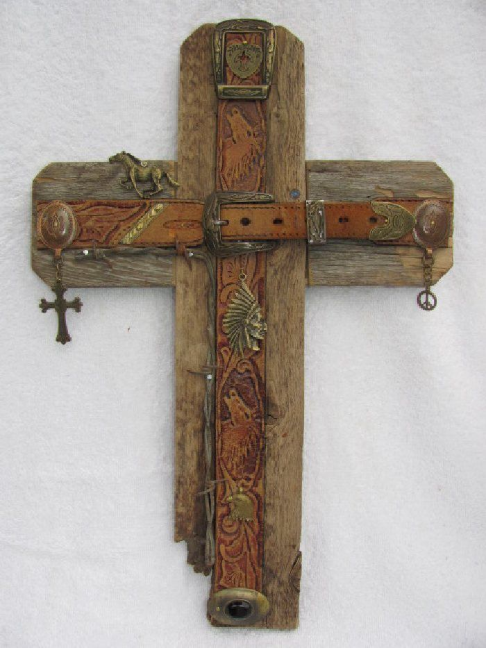 Recycled Wood Cross Bronze Cross Handcrafted Western