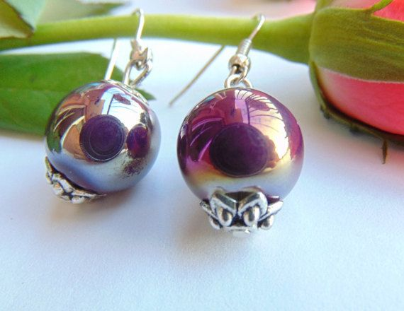Dark Violet Ceramic Balls Earrings Dangle Simple by MaddaKnits