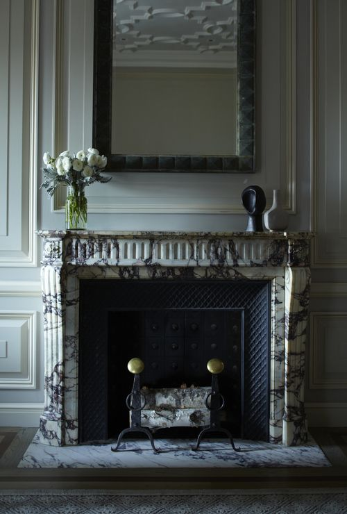 Grambrel made this magnificent marble fireplace the focal point in The  Plaza Hotelu0027s newly redesigned Astor Suites