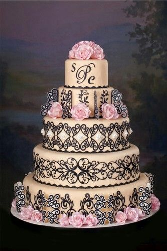 ~ Beautiful Ivory Cake with Chocolate Lace and Pink Roses ~